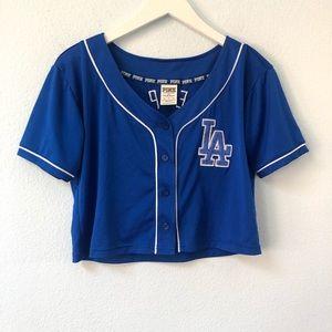 PINK Victoria's Secret LA Dodgers crop jersey top